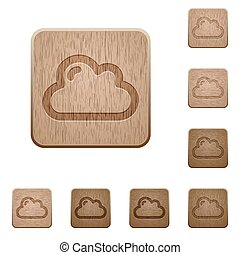 Cloud wooden buttons - Set of carved wooden cloud buttons in...