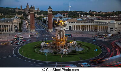 Spanish Square day to night timelapse aerial view in...