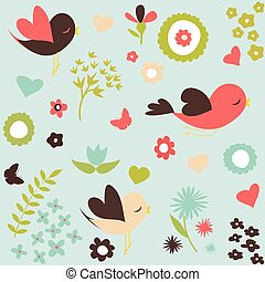 Birds and flowers pattern - Birds and flowers, spring...