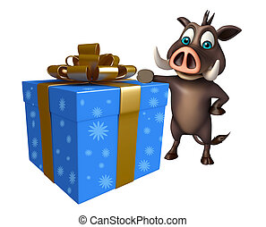 Boar cartoon character with giftbox - 3d rendered...