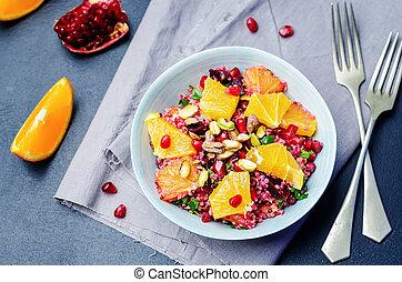 Quinoa chilantro beet pistachio pomegranate salad. toning....
