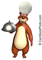 Bear cartoon character with cloche - 3d rendered...