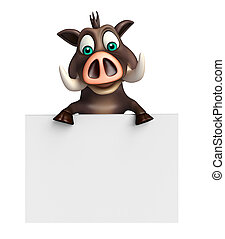 cute Boar cartoon character with white board - 3d rendered...