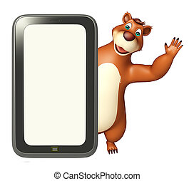 fun Bear cartoon character with mobile - 3d rendered...