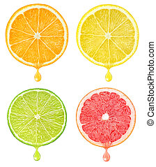 Citrus slices with drop of juice - Slices of citrus fruits...