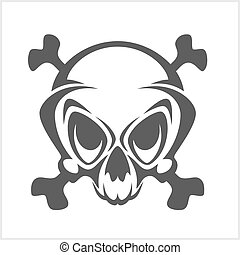 Pirate vector emblem - Jolly Roger skull and cross bones
