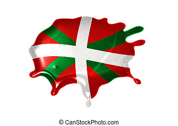 blot with national flag of basque country on the white...