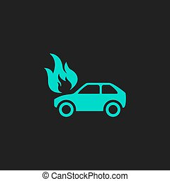 Car fire icon - Car fire Flat simple modern illustration...