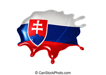 blot with national flag of slovakia on the white background