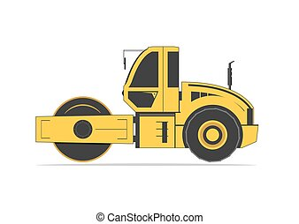 Road roller isolated on background. Vector illustration. EPS...