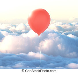Red balloon in clouds