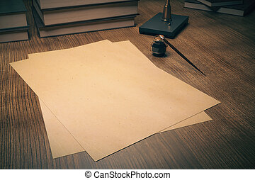 Aged papers and ink-pot - Blank aged paper sheets and...