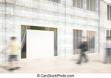negozio, su,  render, finestra, vuoto, tabellone, bianco, beffare,  3D