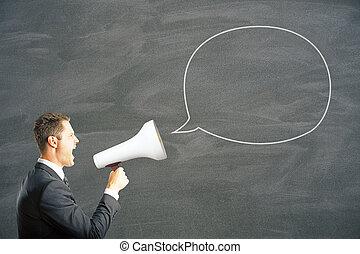 Man shouting into megaphone - Speech bubble and caucasian...