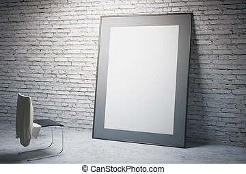 White frame and chair side