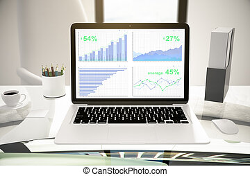 Laptop with charts