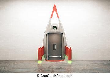 Success concept rocket - Success concept with open door of...