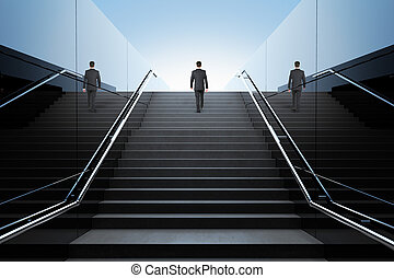 Businessman on stairs - Black stairs in pedestrian subway...