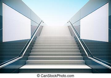 Empty white stairs in pedestrian subway 3D Render