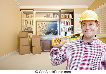 Male Construction Worker In Room With Drawing of...