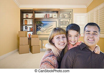 Mixed Race Family In Room With Drawing of Entertainment Unit...