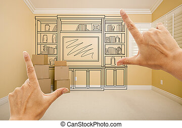 Hands Framing Drawing of Entertainment Unit In Empty Room