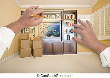 Hands Drawing Entertainment Unit In Room With Moving Boxes -...