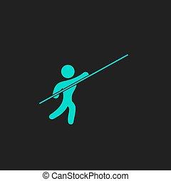 Pole vault athlete Flat simple modern illustration pictogram...
