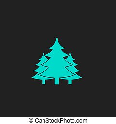 Tree, Christmas fir tree Flat simple modern illustration...