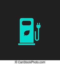 Electric car charging station or Bio fuel petrol. Flat...