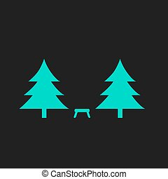 Camping among the trees Flat simple modern illustration...