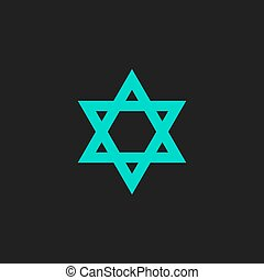 Star of David. Flat simple modern illustration pictogram....
