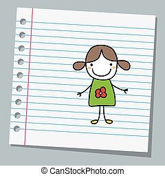notebook paper with little girl
