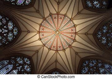 churh in england interior, york minster ornate ceiling