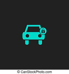 car lock icon - Car lock. Flat simple modern illustration...