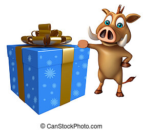 fun Boar cartoon character with gift box - 3d rendered...