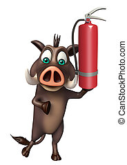Boar cartoon character with fire extinguisher - 3d rendered...