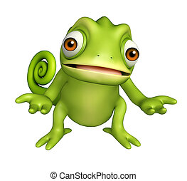 cute Chameleon funny cartoon character - 3d rendered...