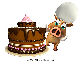 cute Boar cartoon character with cake - 3d rendered...