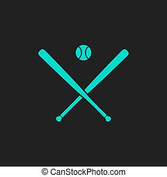 Vector crossed baseball bats and ball - Crossed baseball...