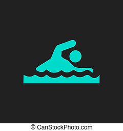 Swimming flat icon - Swimming Flat simple modern...
