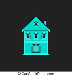 house flat icon - Simple old house Flat simple modern...