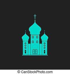 Vector church icon - Church Flat simple modern illustration...
