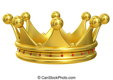 Golden Crown, 3D rendering isolated on white background