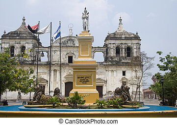 fountain and leon cathedral in central park leon nicaragua -...