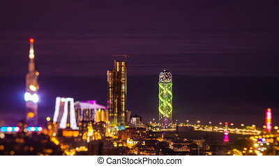 After sunset timelapse Batumi cityscape pan down - HD After...