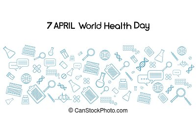 World Health Day Medicine Banner Sketch Background Copy...