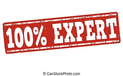 100% Expert stamp - 100% Expert grunge rubber stamp on white...