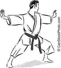 man karate gesture illustration