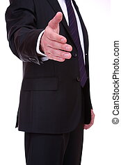 business man - A business man with an open hand ready to...